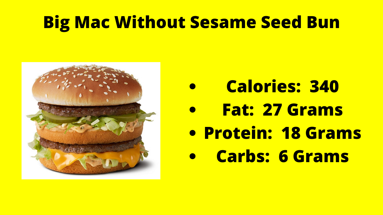 Here are the nutritional numbers for the Big Mac without the Sesame Seed Bun!