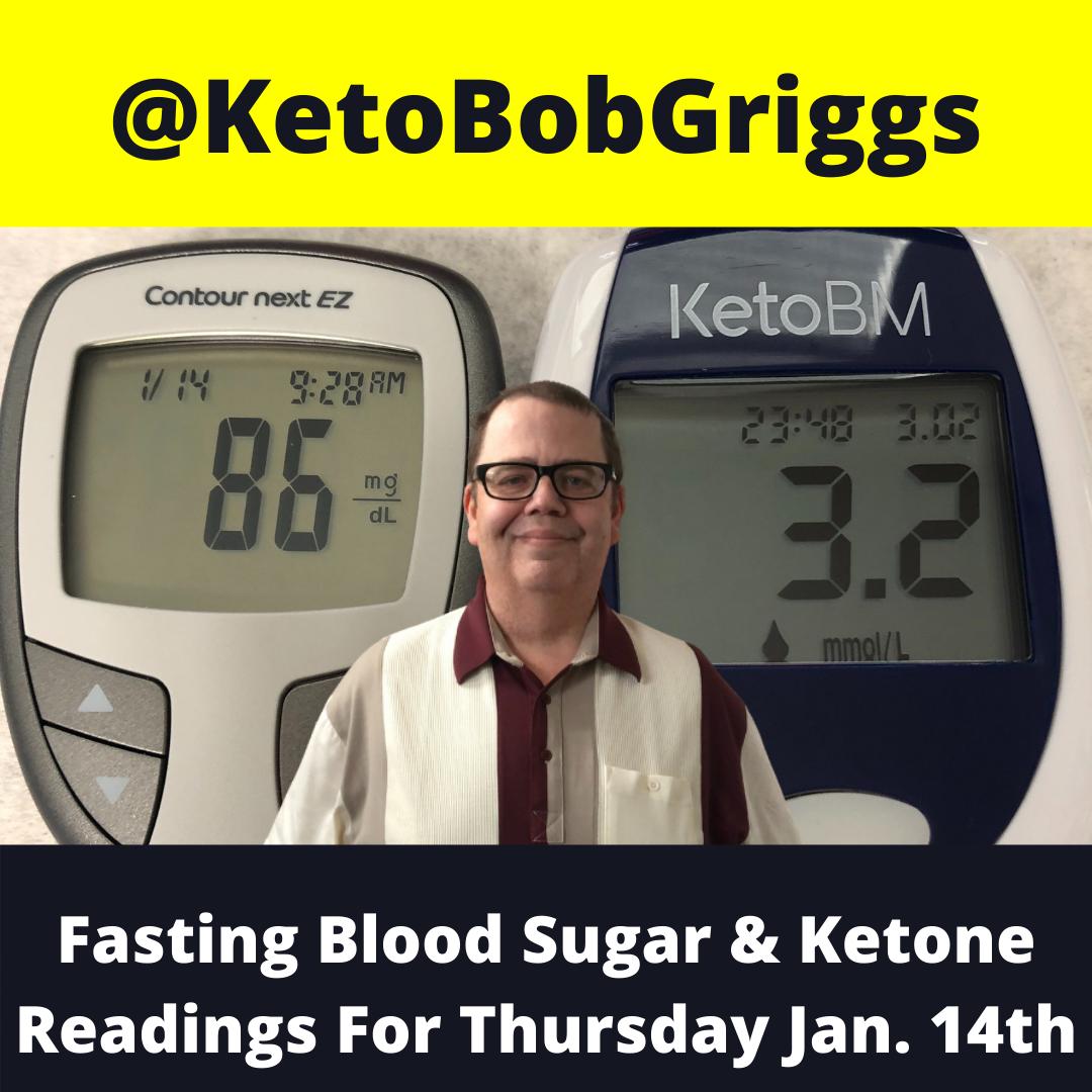 January 14th Fasting Blood Sugar And Ketone Numbers!