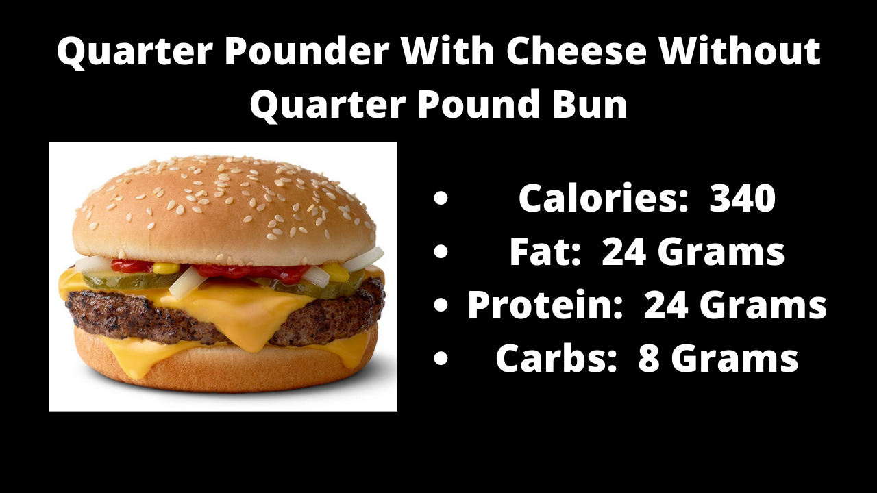 Here are the nutritional numbers for the Quarter Pounder With Cheese without the Quarter Pounder Bun!