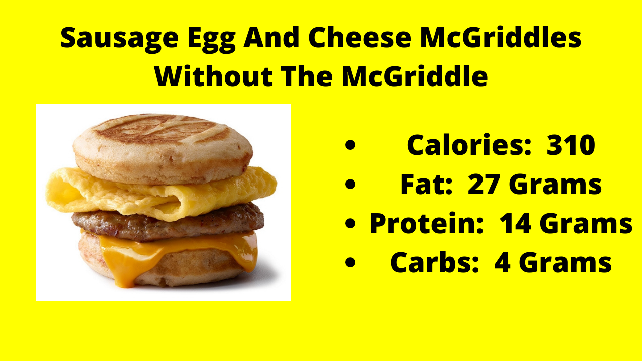 Here are the nutritional numbers for the Sausage Egg And Cheese McGriddles without the McGriddle!